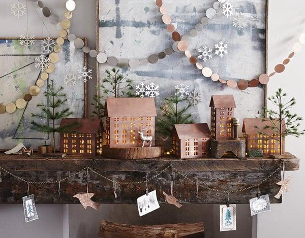 Warm copper tones in Christmas mantelpiece