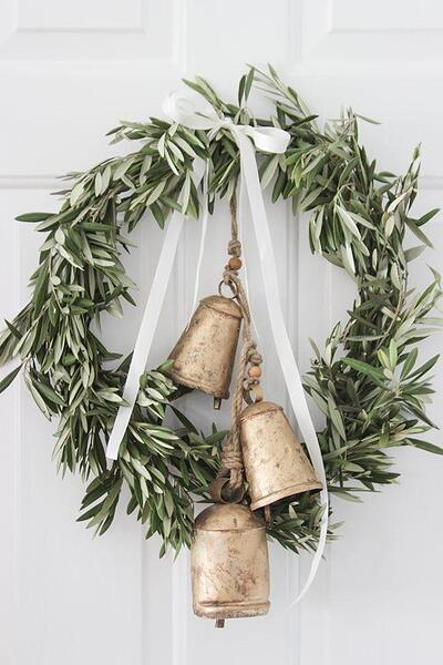 Natural style Christmas wreath with olive leaves