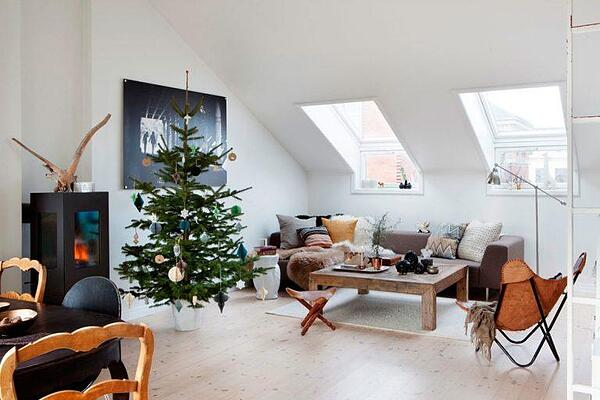 A loft with Christmas tree