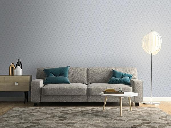 Bercy Art Deco Arch Patterned Wallpaper, Grey and White from Cult Furniture