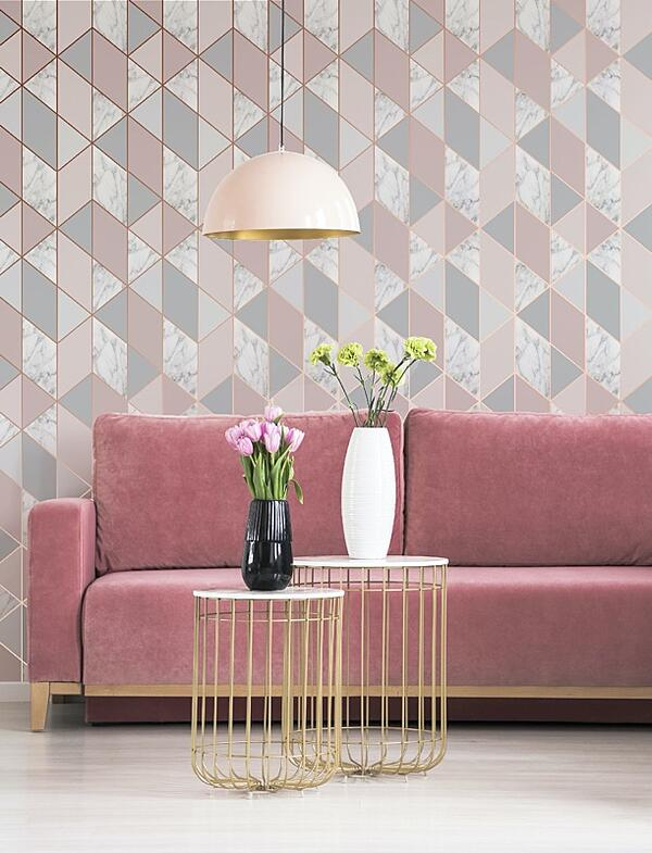 Marble Geometric Wallpaper, Pink and Grey from Cult Furniture