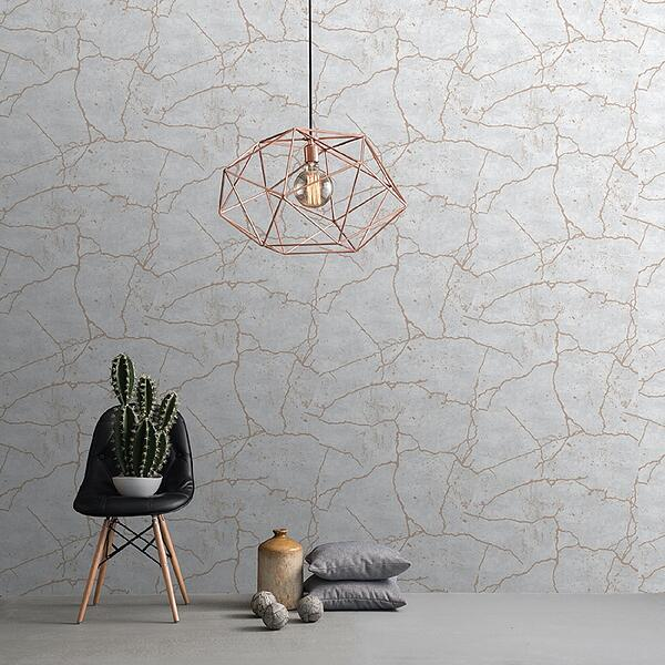 Kintsugi Decorative Cracked Effect Wallpaper, Rose Gold from Cult Furniture