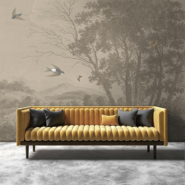 Zephyr Wallpaper Mural in Vintage Sepia from Woodchip and Magnolia
