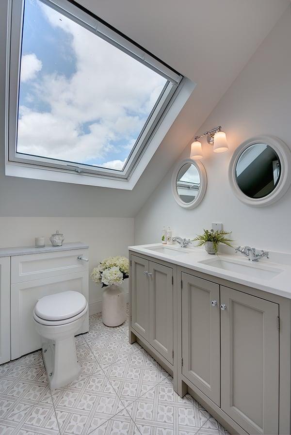 Cara Mill's loft bathroom featuring VELUX windows