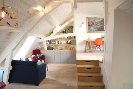 Attic living room with white walls to add brightness