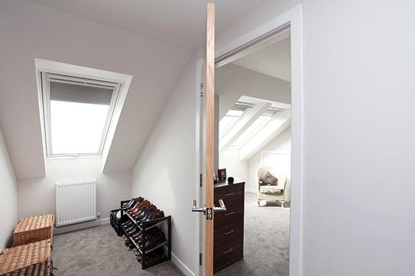 Walk-in wardrobe in a loft conversion